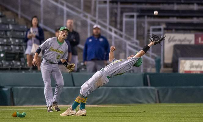 Eastside High School senior Colben Steury (2) makes a catch during the IHSAA Class 2A baseball state championship game against Providence High School, Monday, June 21, 2021, at Victory Field in Indianapolis. (Doug McSchooler/for Journal-Gazette)