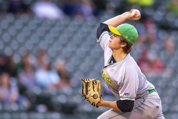 Eastside High School junior Owen Willard (1) delivers a pitch during the IHSAA Class 2A baseball state championship game against Providence High School, Monday, June 21, 2021, at Victory Field in Indianapolis. (Doug McSchooler/for Journal-Gazette)