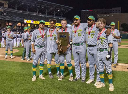 Eastside High School players pose with their trophy after loosing the game against Providence High School in the IHSAA Class 2A baseball state championship game, Monday, June 21, 2021, at Victory Field in Indianapolis. (Doug McSchooler/for Journal-Gazette)