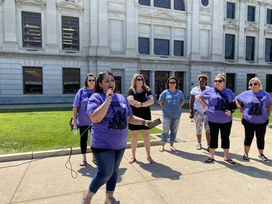 Jamie Duffy   The Journal Gazette  Theresa Juillerat, who lost her son Chris Juillerat to a fentanyl overdose, organized the localAssociation of People Against Lethal Drugs rally earlier this month at the Courthouse Green.