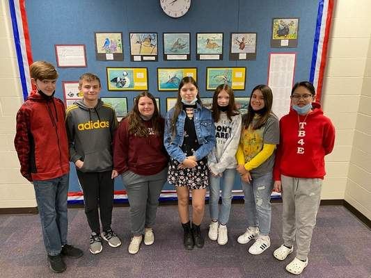 Courtesy photos Bellmont Middle School eighth grade art students, from left, Caiden Beitler, Jaxon Braun, Serenity Price, Sophia Lopez, Adelyn Wells, Amaris Silva and Kim Le won accolades with the watercolor paintings.