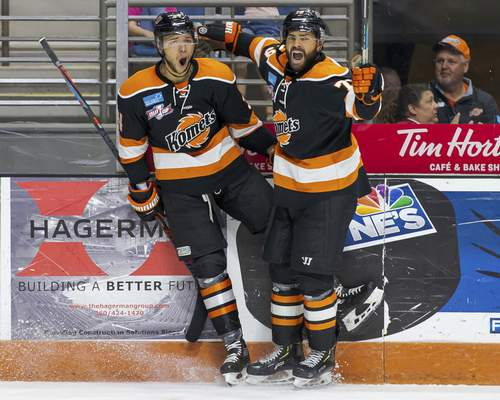 Josh Gales   Special to The Journal Gazette  The Komets' Stephen Harper, left, celebrates a goal with teammate Marcus McIvor on Friday at Memorial Coliseum in Game 4 of the Kelly Cup Finals.