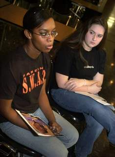 022603-swat2 File Ashley C. Ford, left, and Ashley Haydock talk about their group, Students Working Against Tobacco, in this phototaken during the writer's sophomore yearat Paul Harding High School in 2003. (Samuel Hoffman)