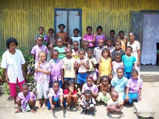 Courtesy Sam Ladowski regularly worked with a group of grade school students and their teachers in Madagascar, where he did health-related activities and conducted English classes.