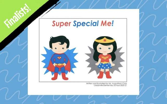 """A book by an East Allen County Schools first grade class is a finalist in a national contest, as shown in this screenshot of a video announcing the winners. Their book, """"Super Special Me!,"""" was honored from among more than 60,290 entries."""