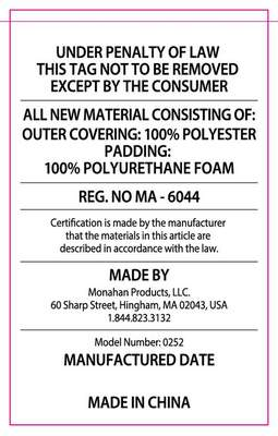 The law label on the recalled RumbleSeat.