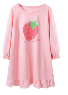 Recalled Booph children's nightgown - long sleeves, pink with strawberry.