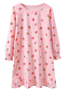 Recalled Booph children's nightgown - long sleeves, pink with strawberries.