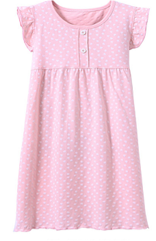 Recalled Auranso Official children's nightgown - short sleeves, pink with white heart print.