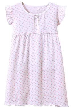 Recalled Auranso Official children's nightgown - short sleeves, white with pink heart print.