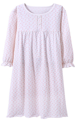 Recalled Auranso Official children's nightgown - long sleeves, white with pink heart print.