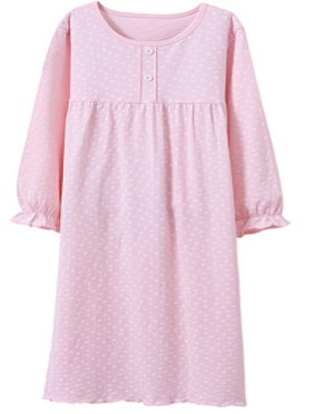 Recalled Auranso Official children's nightgown - long sleeves, pink with white heart print.