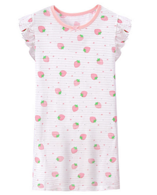 Recalled Auranso Official children's nightgown - short sleeves, white with pink stripes.