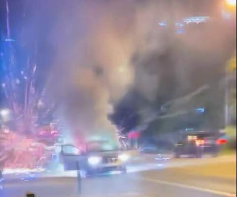 Courtesy  Fireworks are shown exploding from a car along Main Street during Fort Wayne's downtown fireworks show Sunday in this image from a video taken by an onlooker and provided to the Fort Wayne Fire Department.