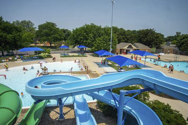 Northside Pool was a popular place on a hot, humid Monday.