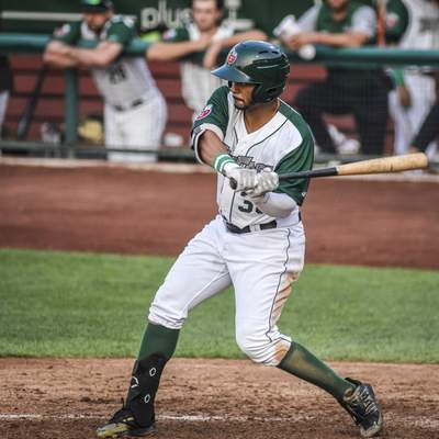 Mike Moore   The Journal Gazette TinCaps designated hitter Kelvin Alarcon swings Tuesday at Parkview Field.