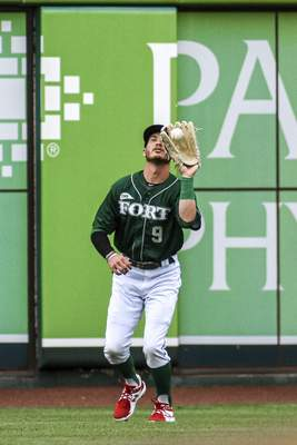 Mike Moore   The Journal Gazette TinCaps left fielder Grant Little catches a pop-fly in the first inning against Lake County at Parkview Field on Thursday.