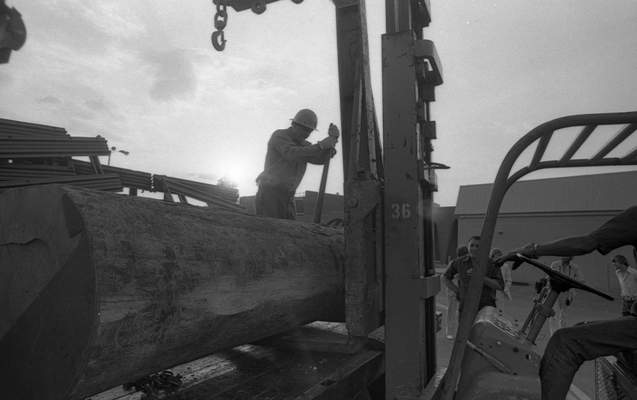 A worker unloads an 800-pount, 12-foot log to be carved at Glenbrook Square on June 14, 1976. (Journal Gazette file photo)