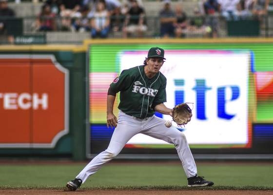 Mike Moore | The Journal Gazette TinCaps second baseman Chris Givin fields the ball during the first inning against the Captains at Parkview Field on Thursday.