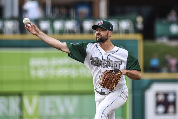 Mike Moore | The Journal Gazette TinCaps pitcher Matt Waldron in the first inning against the Captains on Friday.