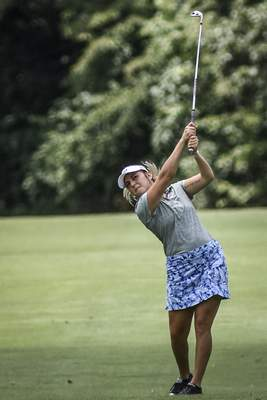 Mike Moore | The Journal Gazette Brooke Moserplays a shot during the first round of the Women's City Golf Tournament on Friday at Coyote Creek. Moser finished tied for second at even-par 72.