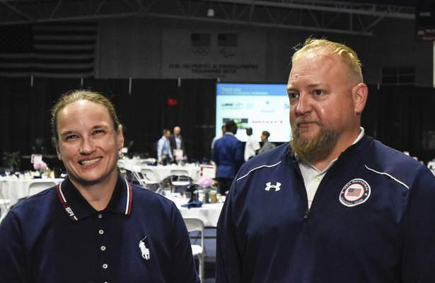 Michelle Davies | The Journal Gazette Husband and wife Jake and Lisa Czechowski are preparing to compete in Tokyo's Goalball Paralympics. Lisa is a five-time Paralympian and a four-time Paralympic medalist (1 gold, 2 silver, 1 bronze). Jake is the head coach of the US women's national goalball team.
