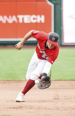 Katie Fyfe | The Journal Gazette  TinCaps first baseman Seamus Curran fields the ball during the fifth inning against theLake CountyCaptains at Parkview Field on Saturday.