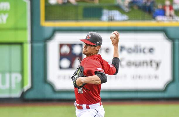 Katie Fyfe | The Journal Gazette  The TinCaps' Gabe Mosser delivers a pitch during the second inning against the Lake County Captains at Parkview Field on Saturday.