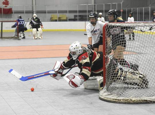 Michelle Davies   The Journal Gazette Participants compete in a one tap drill at Saturday's tryouts for the Women's National Ball Hockey team at SportONE/Parkview Icehouse.