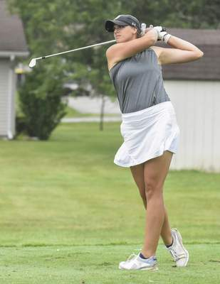 Michelle Davies   The Journal Gazette Emma Schroeder tees off on the third hole of Coyote Creek Golf Club Sunday afternoon for the Women's City Golf Tournament.
