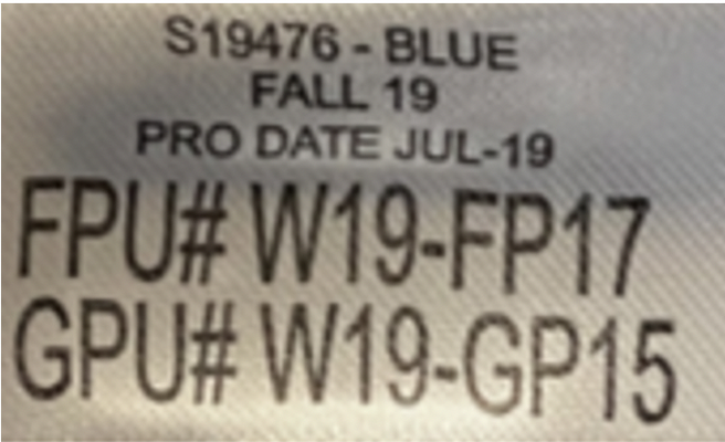 Label on recalled robes.