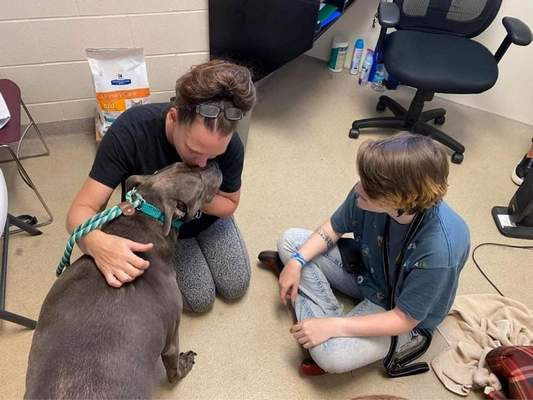Courtesy    Cara Seiler, left, and daughter, Kailey Kuntz, said Kemo knew her immediately when she was reunited with them at Animal Care & Control. Kemo disappeared in 2013, but the family kept microchip information up to date making it easier to locate family and dog.