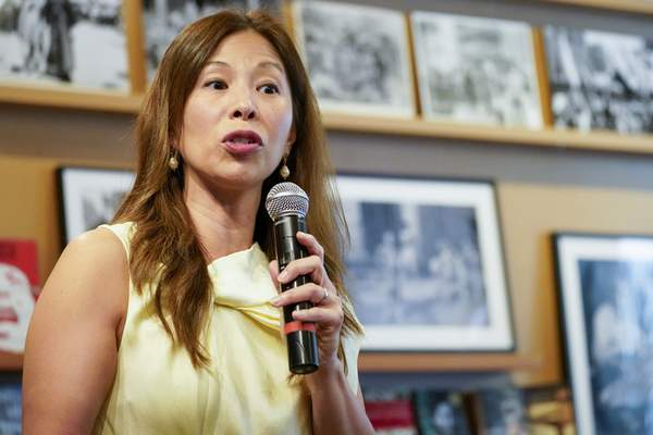 Nancy Yao Maasbach, President of the Museum of Chinese in America, speaks during the press preview of Responses: Asian American Voices Resisting the Tides of Racism at the Museum of Chinese in America, Wednesday, July 14, 2021, in New York. (AP Photo/Mary Altaffer)