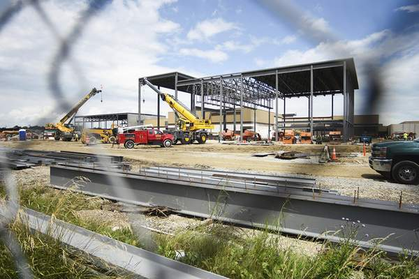Katie Fyfe | The Journal Gazette  Progress on the $169 million Homestead High School Construction Project pictured Tuesday.
