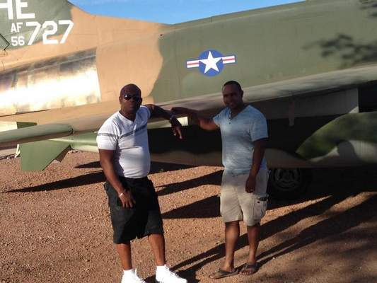 Courtesy  Kevin Corey, left, visits his son Bennie Hatch, U.S. Air Force Technical Sergeant, at Nelis Air Force Base in Las Vegas, where Hatch is currently stationed.