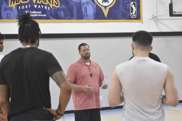 Dylan Sinn | The Journal Gazette Steve Gansey, who coached the Mad Ants from 2015 to 2020, is now the coach of the Fort Wayne Champs.