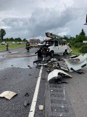 Courtesy Steuben County sheriff's office Three men were taken to the hospital after a semi driver struck a slowed van on Interstate 69, causing a three-vehicle crash. The van  burst into flames.
