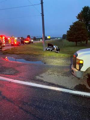 Courtesy DeKalb County Sheriff's Department  A motorist that failed to stop at a red light and hit a pickup truck was taken to the hospital early Saturday morning.