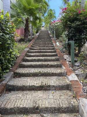 The Charlotte Amalie, a historic area on St. Thomas, is where you'll find the famous 99 (actually 103) steps stairway that is built from the ballast bricks of European ships.