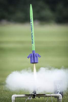 Mike Moore | The Journal Gazette A model rocket is launched Sunday during a club meet for the Summit City Aerospace Modelers at the Concordia Theological Seminary.