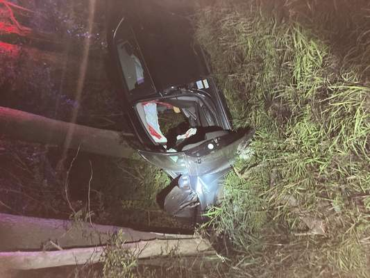 Courtesy Steuben County Sheriff's Office  Two people were hurt when their car crashed into a tree just before midnight Saturday in rural York Township in Steuben County.