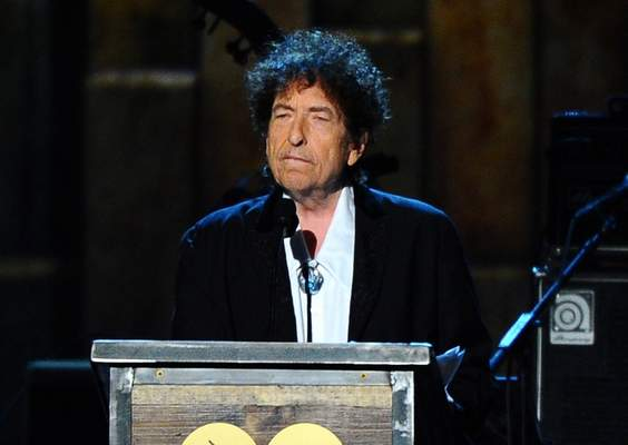 FILE - In this Feb. 6, 2015, file photo, Bob Dylan accepts the 2015 MusiCares Person of the Year award at the 2015 MusiCares Person of the Year show in Los Angeles. (Photo by Vince Bucci/Invision/AP, File)