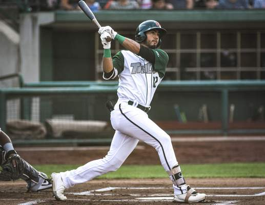 Mike Moore | The Journal Gazette TinCaps right fielder Agustin Ruiz at bat in the first inning against Dayton at Parkview Field on Tuesday.