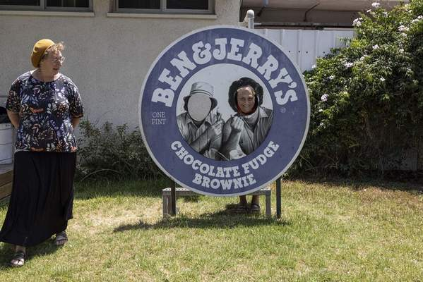 Israelis visit the Ben & Jerry's ice-cream factory in the Be'er Tuvia Industrial area, Tuesday, July 20, 2021. (AP Photo/Tsafrir Abayov)