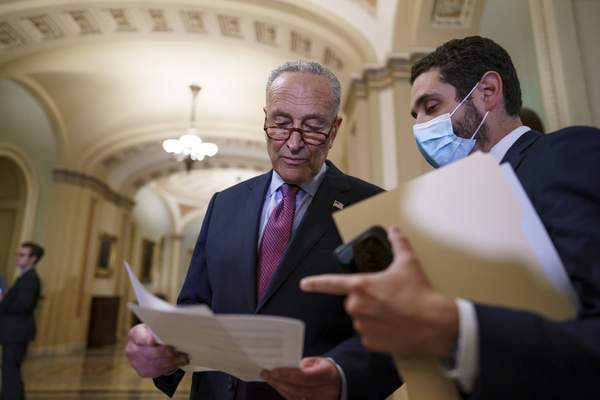 Associated Press Senate Majority Leader Chuck Schumer, D-N.Y., plans a procedural vote today on a proposed bipartisan infrastructure bill.