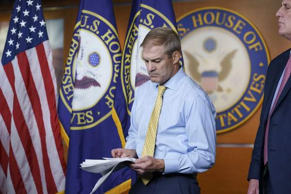 Rep. Jim Jordan, R-Ohio, left, and House Minority Leader Kevin McCarthy, R-Calif., stand during a news conference after House Speaker Nancy Pelosi rejected two of McCarthy's picks for the committee investigating the Jan. 6 Capitol insurrection, Rep. Jordan and Rep. Jim Banks, R-Ind., at the Capitol in Washington, Wednesday, July 21, 2021. (AP Photo/J. Scott Applewhite)
