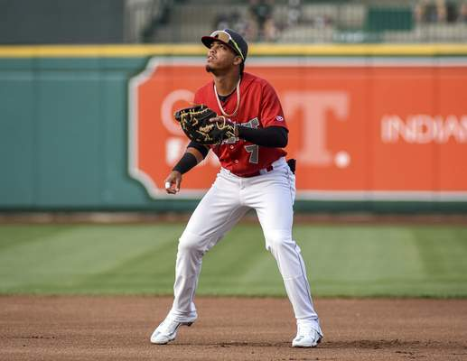 Mike Moore | The Journal Gazette TinCaps first baseman Luis Almanzar watches the ball in the first inning against Dayton on Wednesday.