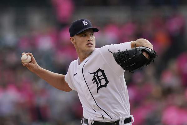Detroit Tigers starting pitcher Matt Manning throws during the first inning of a baseball game against the Texas Rangers, Wednesday, July 21, 2021, in Detroit. (AP Photo/Carlos Osorio)