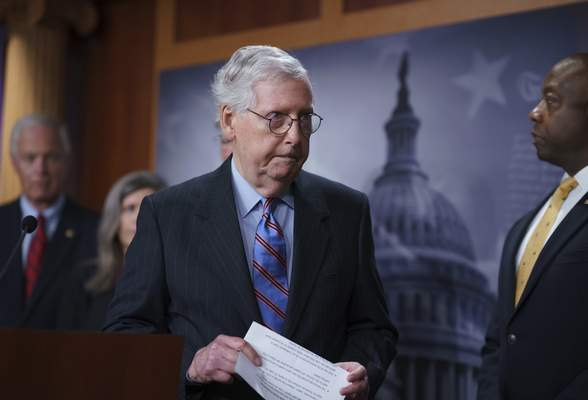 Senate Minority Leader Mitch McConnell, R-Ky., and other GOP senators speak to reporters ahead of a test vote scheduled by Democratic Leader Chuck Schumer of New York on the bipartisan infrastructure deal senators brokered with President Joe Biden, in Washington, Wednesday, July 21, 2021. (AP Photo/J. Scott Applewhite)
