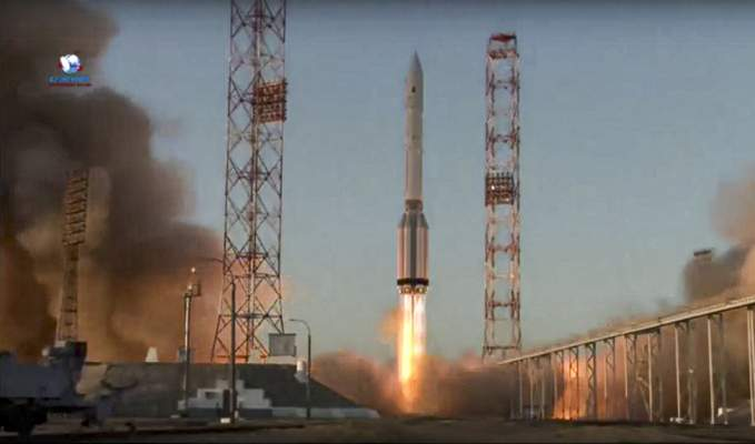 In this image taken from video provided by Roscosmos Space Agency Press Service, a Proton-M booster rocket carrying the Nauka module blasts off from the launch pad at Russia's space facility in Baikonur, Kazakhstan, Wednesday, July 21, 2021. (Roscosmos Space Agency Press Service photo via AP)
